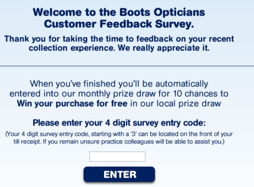 Boots Opticians Guest Experience Survey