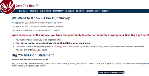 Big Y Customer Feedback Survey