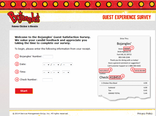 Bojangles' Guest Satisfaction Survey