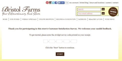 Bristol Farms Customer Satisfaction Survey