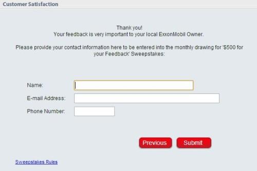 ExxonMobil Customer Satisfaction Survey