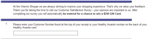 Vitamin Shoppe Customer Satisfaction Survey