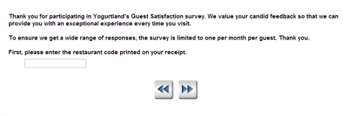 Yogurtland Guest Satisfaction Survey