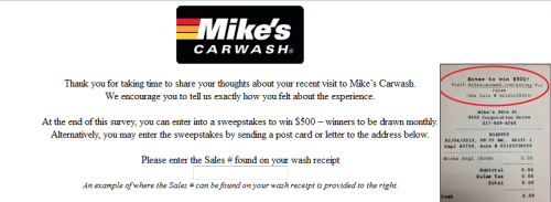 Mike's Carwash Customer Survey