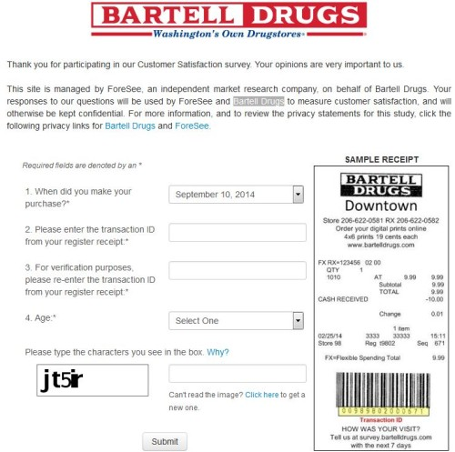 Bartell Drugs Customer Satisfaction Survey