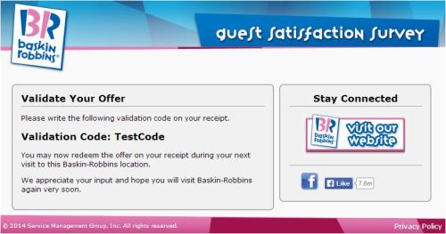 Baskin-Robbins Customer Satisfaction Survey