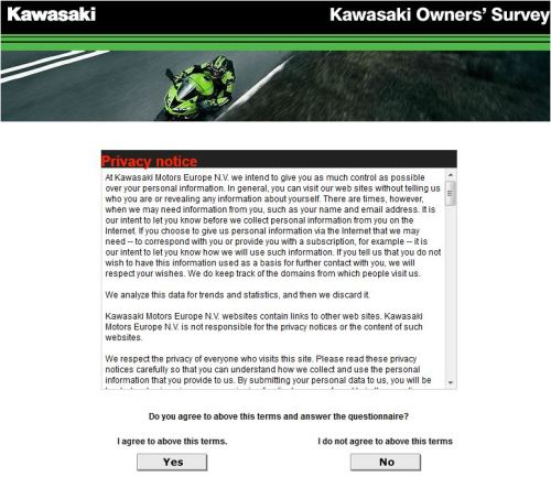 Kawasaki World Owners' Survey