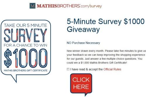 Mathis Brothers Customer Satisfaction Survey