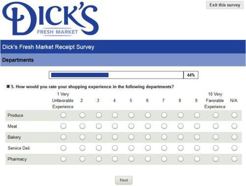 Dick's Fresh Market Receipt Survey