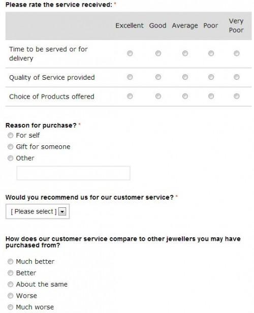 F.Hinds Customer Feedback Survey