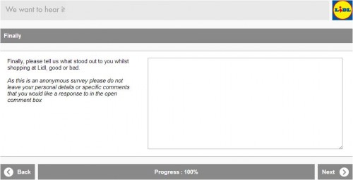 Lidl Customer Satisfaction Survey