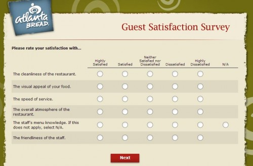Atlanta Bread Customer Satisfaction Survey