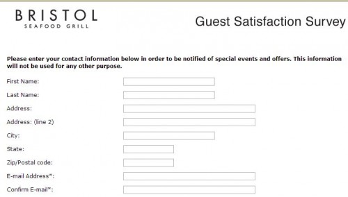 Bristol Seafood Grill Guest Satisfaction Survey