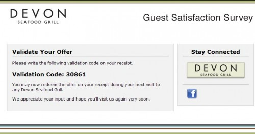 Devon Seafood Grill Guest Satisfaction Survey