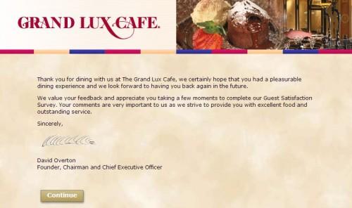 Grand Lux Cafe Customer Feedback Survey