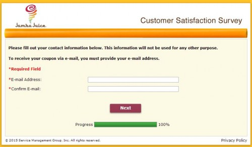 Jamba Juice Guest Satisfaction Survey