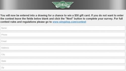 Wingstop Guest Satisfaction Survey