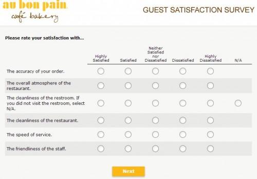 Au Bon Pain Customer Satisfaction Survey