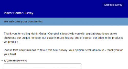 Martin Guitar Visitor Feedback Survey