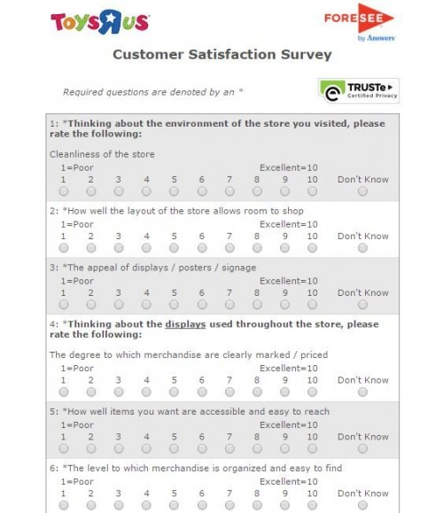 "Toys""R""Us Guest Feedback Survey"