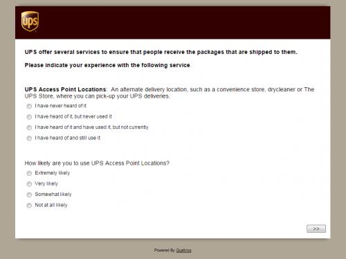 United Parcel Service Customer Feedback Survey