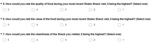 Shake Shack Guest Experience Survey