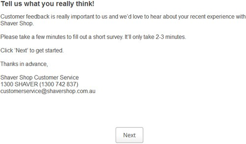 Shaver Shop Customer Feedback Survey