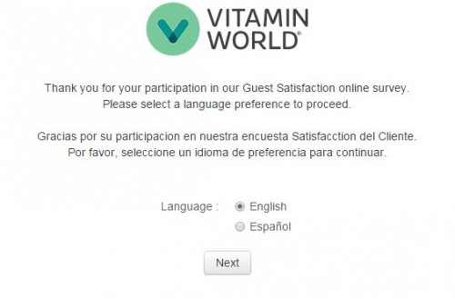 Vitamin World Guest Satisfaction Survey
