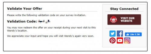 Wendy's Feedback Survey5
